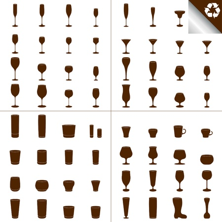 Recycled ecology glass illustration collection Stock Vector - 10371429