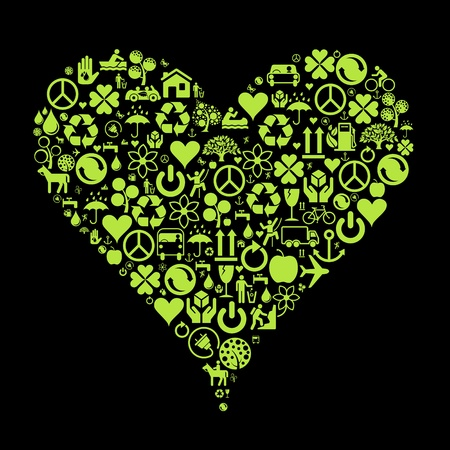 afvalbak: Ecologie iconen hart concept achtergrond illustratie Stock Illustratie