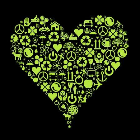 basura organica: Iconos de Ecolog�a coraz�n ilustraci�n de fondo de concepto