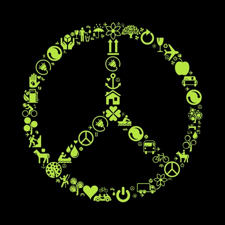 peace on earth: Ecology icons concept background illustration