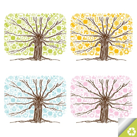 water recycling: Animated cute colorful ecology icons tree collection
