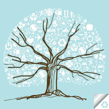 niños reciclando: Animada lindo colorido árbol de iconos de la ecología