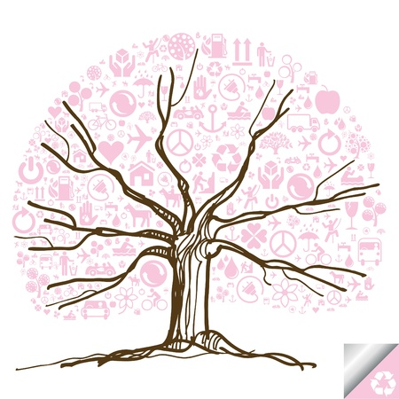 Animated cute colorful ecology icons tree Stock Vector - 10364926