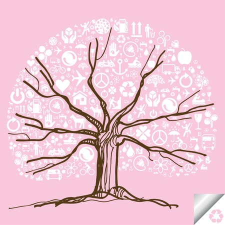 Animated cute colorful ecology icons tree Stock Vector - 10364927