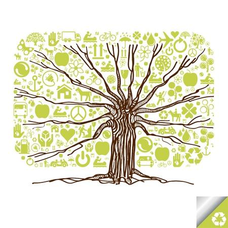 niños reciclando: Animados lindo colorido árbol de iconos de la ecología