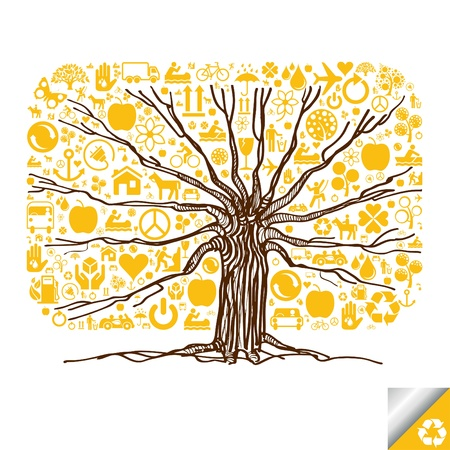 recycle tree: Animated cute colorful ecology icons tree