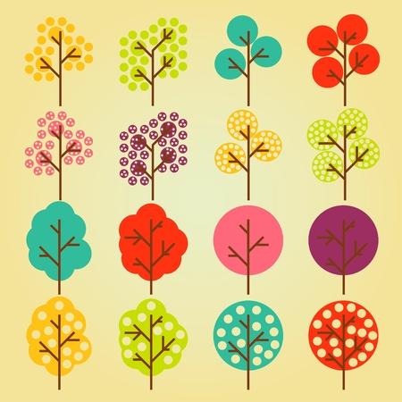 niños reciclando: Animados lindo iconos de la ecología colorido colección de árboles