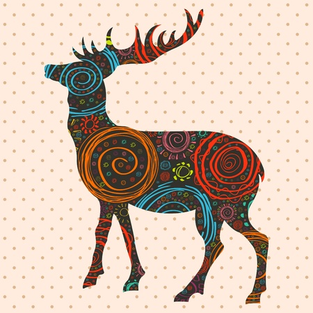 elk horn: Christmas deer background illustration