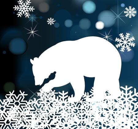 bear silhouette: Christmas bear background illustration