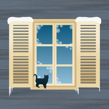 curtain window: Cat in the winter window background illustration