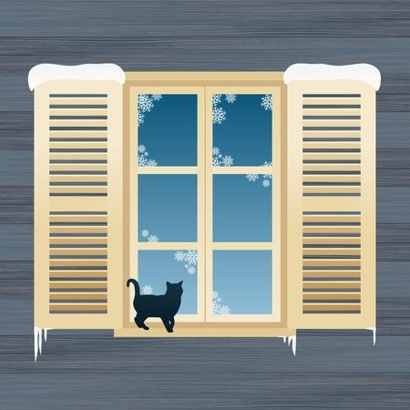 window open: Gato en la ilustraci�n de fondo de la ventana de invierno