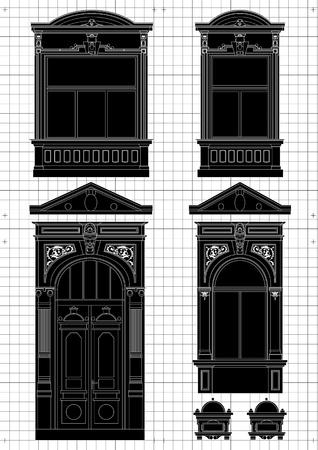 art door: Vintage house blueprint plans background illustration