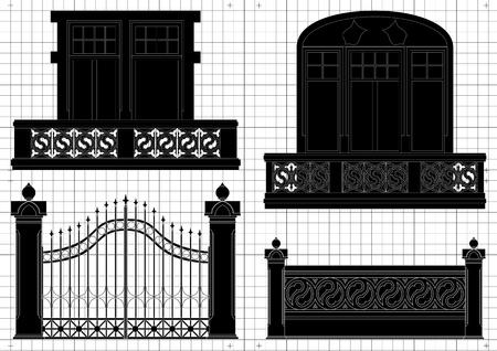 portal: Vintage house blueprint plans background illustration