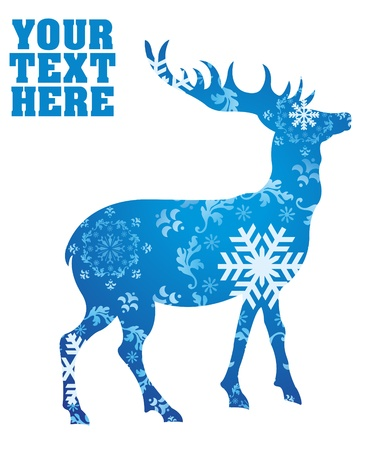 stag horn: Christmas deer background illustration