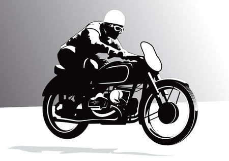 motorcycle rider: Vintage biker riding motorcycle background illustration