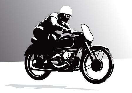 jinete: Vintage ciclista montando motocicletas ilustración de fondo