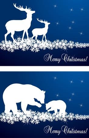 elk horn: Ilustraci�n de fondo de ciervos y osos de Navidad