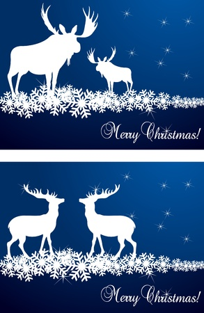 Christmas deer and moose background illustration Vector
