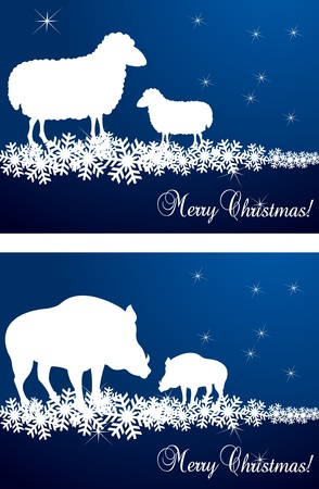 Christmas sheep and wild boar background illustration Vector