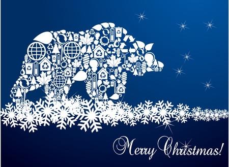 arctic landscape: Bear Christmas blue vector background