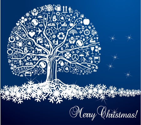 Blue Christmas vector background with snow tree Vector