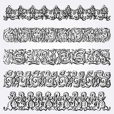 baroque border: Vintage elements vector background set