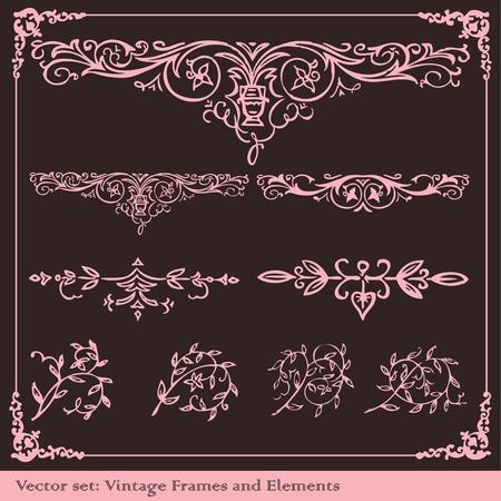 cartoline vittoriane: Vintage elementi vettoriali set di sfondo