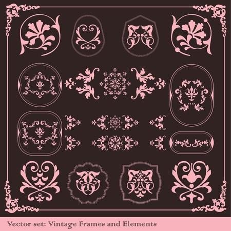 Vintage elements vector background set