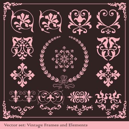 victorian christmas: Vintage elements vector background set