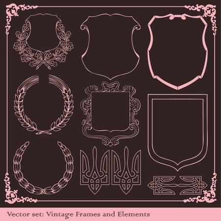 Vintage elements vector background set Vector
