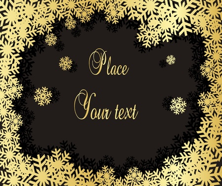 yule: Snowflakes vector background in gold Illustration