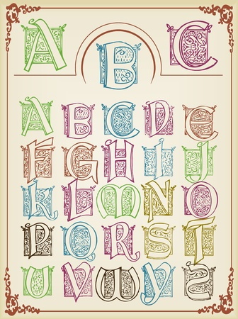 Vintage alphabet vector background set Vector