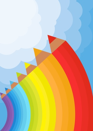 Background with color pencils vector Vector