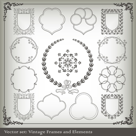Vintage elements vector background set Vector