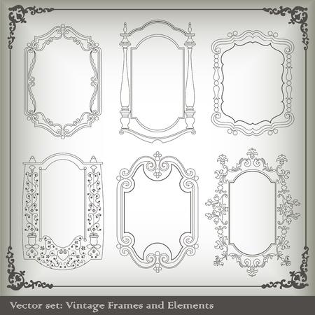 victorian border: Vintage elements vector background set