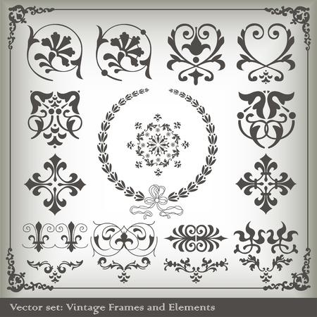 виньетка: Урожай векторные элементы фона набор