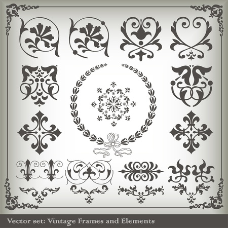 Vintage elements vector background set