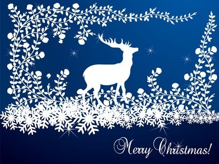 Vector christmas deer,starry background Vector