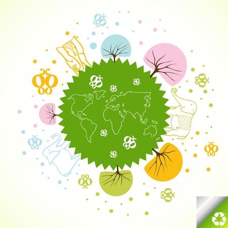 Green planet concept vector background Vector
