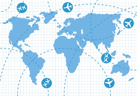altitude: Planes speeding on their flight paths on earth map Illustration