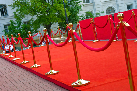 hollywood movie: Way to success on the red carpet (Barrier rope) Stock Photo