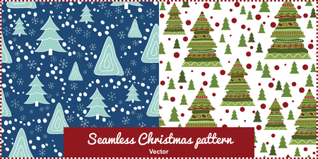 Seamless winter pattern. Christmas tree and snowflakes. Perfect design for posters, cards, textile, web pages.