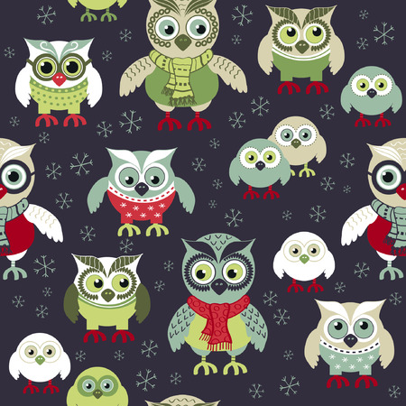 Owls in seamless winters pattern. Seamless Christmas pattern. Scandinavian style. Owls at night seamless pattern. Vector wrapping, paper wrapping and paper, napkins