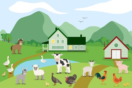 Cartoon farm animals on the background of the countryside. Vector illustration in flat style: goat, sheep, cow, donkey, horse, pig, chicken, rooster, goose, turkey 向量圖像