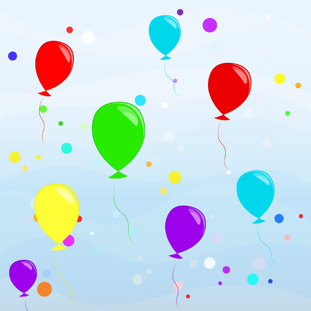 colored balloons with confetti flying in the sky Vector
