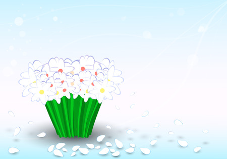 chamomiles: bouquet of chamomiles on a blue background Illustration