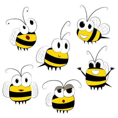funny little bee isolated Vector