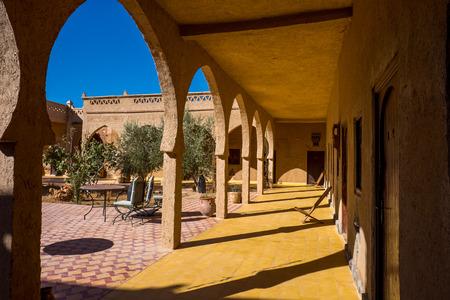 merzouga: Moroccan style Corridor at Nomad Palace, Merzouga, Morocco Stock Photo
