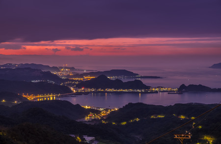 jiufen: The sunset and skyline view from Jiufen old street, Taiwan