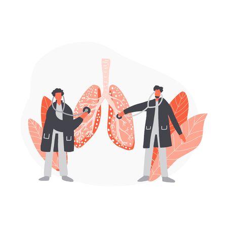 Doctors treat lungs. Cartoon hand drawn design. Medical illustration.